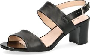 Czarne sandały Caprice z tkaniny na obcasie