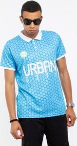 Niebieska koszulka polo Prosto. ze skóry ekologicznej z krótkim rękawem