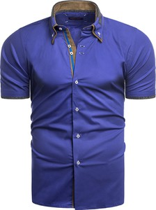 Niebieska koszula Risardi z krótkim rękawem