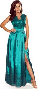Sukienka NUMOCO z dekoltem w kształcie litery v rozkloszowana maxi