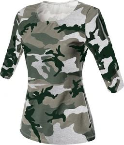 T-shirt Rennwear w militarnym stylu z okrągłym dekoltem z długim rękawem