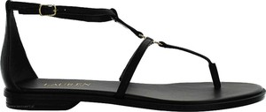 Czarne sandały Lauren Ralph Lauren w stylu casual z płaską podeszwą ze skóry