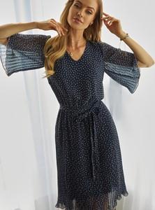 Granatowa sukienka L'AF z dekoltem w kształcie litery v