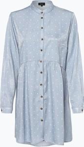 Niebieska sukienka Aygill`s z okrągłym dekoltem w stylu casual koszulowa