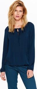Niebieska bluzka Top Secret w stylu casual z długim rękawem z tkaniny