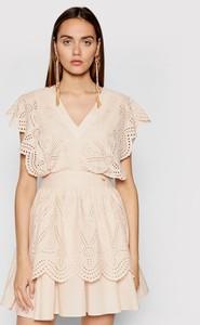 Sukienka Rage Age z krótkim rękawem trapezowa z dekoltem w kształcie litery v