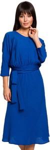 Sukienka BeWear midi z długim rękawem z okrągłym dekoltem