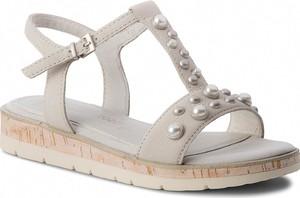 Sandały Marco Tozzi ze skóry ekologicznej z płaską podeszwą w stylu casual