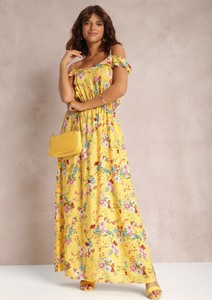 Żółta sukienka Renee maxi w stylu boho z dekoltem w kształcie litery v