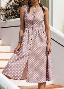 Różowa sukienka Cikelly midi na ramiączkach z dekoltem w kształcie litery v