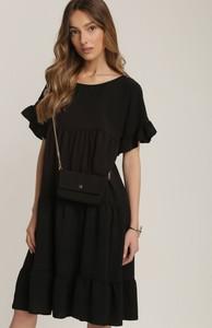 Czarna sukienka Renee oversize mini z okrągłym dekoltem