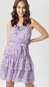 Fioletowa sukienka born2be mini w stylu casual rozkloszowana