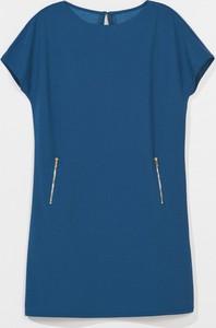 Niebieska sukienka Mohito z krótkim rękawem z okrągłym dekoltem mini