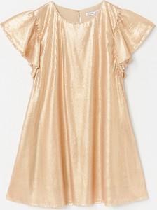 Złota sukienka Reserved mini w stylu glamour z okrągłym dekoltem