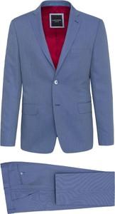 Niebieski garnitur Lavard z wełny