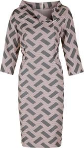 Sukienka Poza mini z tkaniny z długim rękawem