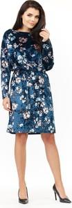 Niebieska sukienka Awama z weluru