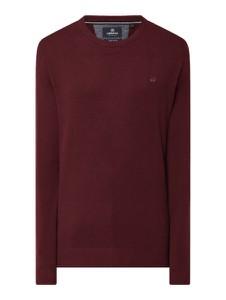 Czerwony sweter Lerros z bawełny w stylu casual z okrągłym dekoltem