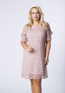 Sukienka Ptakmoda.com z tiulu z okrągłym dekoltem mini