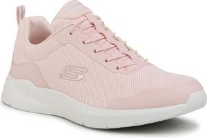 Różowe buty sportowe Skechers z płaską podeszwą sznurowane