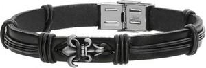 Manoki Skórzana bransoletka męska w kolorze czarnym