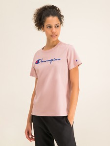 Różowy t-shirt Champion z krótkim rękawem