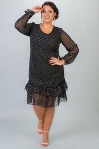 Czarna sukienka KARKO z długim rękawem wyszczuplająca z okrągłym dekoltem