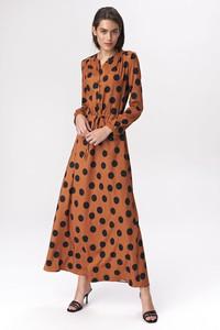 Brązowa sukienka Merg z dekoltem w kształcie litery v