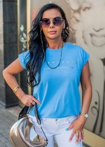 Niebieska bluzka Fason w stylu casual z okrągłym dekoltem z krótkim rękawem