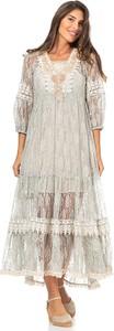 Sukienka Peace & Love dla puszystych z długim rękawem z dekoltem w kształcie litery v