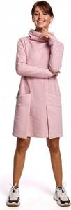 Różowa sukienka Be mini z golfem