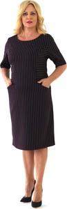 Czarna sukienka Roxana - sukienki midi z okrągłym dekoltem