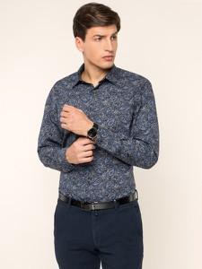 Granatowa koszula Pierre Cardin z długim rękawem