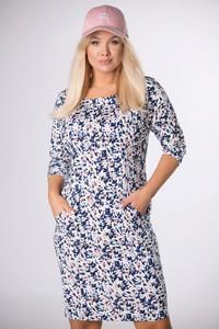 Sukienka Ptakmoda.com dopasowana w stylu casual z okrągłym dekoltem
