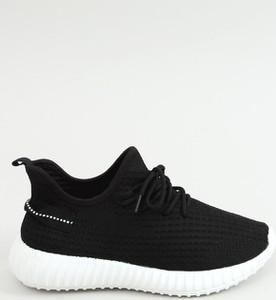 Czarne buty sportowe Buty Damskie w sportowym stylu z płaską podeszwą