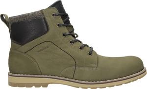Zielone buty zimowe Wojas sznurowane ze skóry