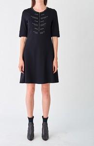 Czarna sukienka Strenesse z długim rękawem mini
