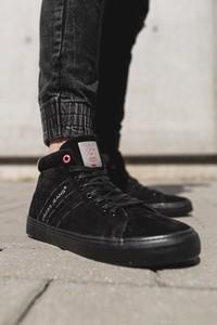 Trampki Męskie Cross Jeans Wysokie Skóra Zamsz Czarne EE1R4057C