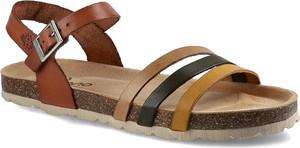 Brązowe sandały Yokono z klamrami ze skóry w stylu casual