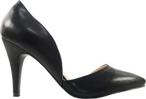 Czarne szpilki Kokietki na wysokim obcasie ze spiczastym noskiem ze skóry