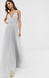 Srebrna sukienka Asos Design na ramiączkach z dekoltem w kształcie litery v z tiulu
