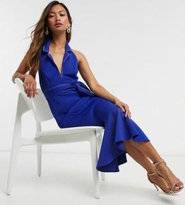 Niebieska sukienka Asos baskinka z dekoltem halter midi