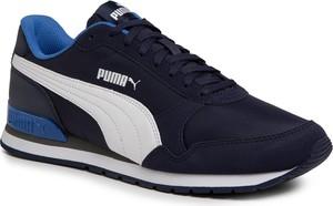 Granatowe buty sportowe Puma ze skóry ekologicznej