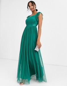 Zielona sukienka Anaya z tiulu maxi bez rękawów