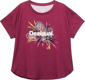 T-shirt Desigual w młodzieżowym stylu z krótkim rękawem z nadrukiem
