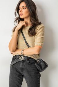 Brązowa bluzka Fashion Manufacturer z okrągłym dekoltem z bawełny