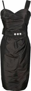Czarna sukienka Fokus z dekoltem w karo