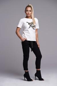 Bluzka Ella Boutique z krótkim rękawem w stylu casual z okrągłym dekoltem