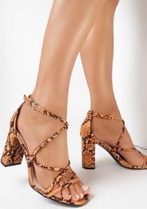 Brązowe sandały born2be ze skóry