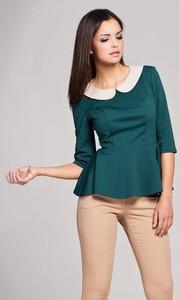 Zielona bluzka Figl z dzianiny z długim rękawem